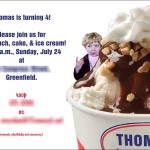 Boy's birthday party invitation with ice cream cup interior