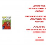 Boy's superhero birthday party invitation interior