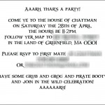 Boy's pirate birthday party invitation interior